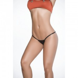 Clip Y back thong wet black 1092
