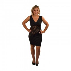 "Robe Cocktail ""Dentelle Asymétrique Black"""
